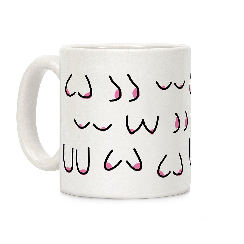 Doodle Boobs White 11 Ounce Ceramic Coffee Mug