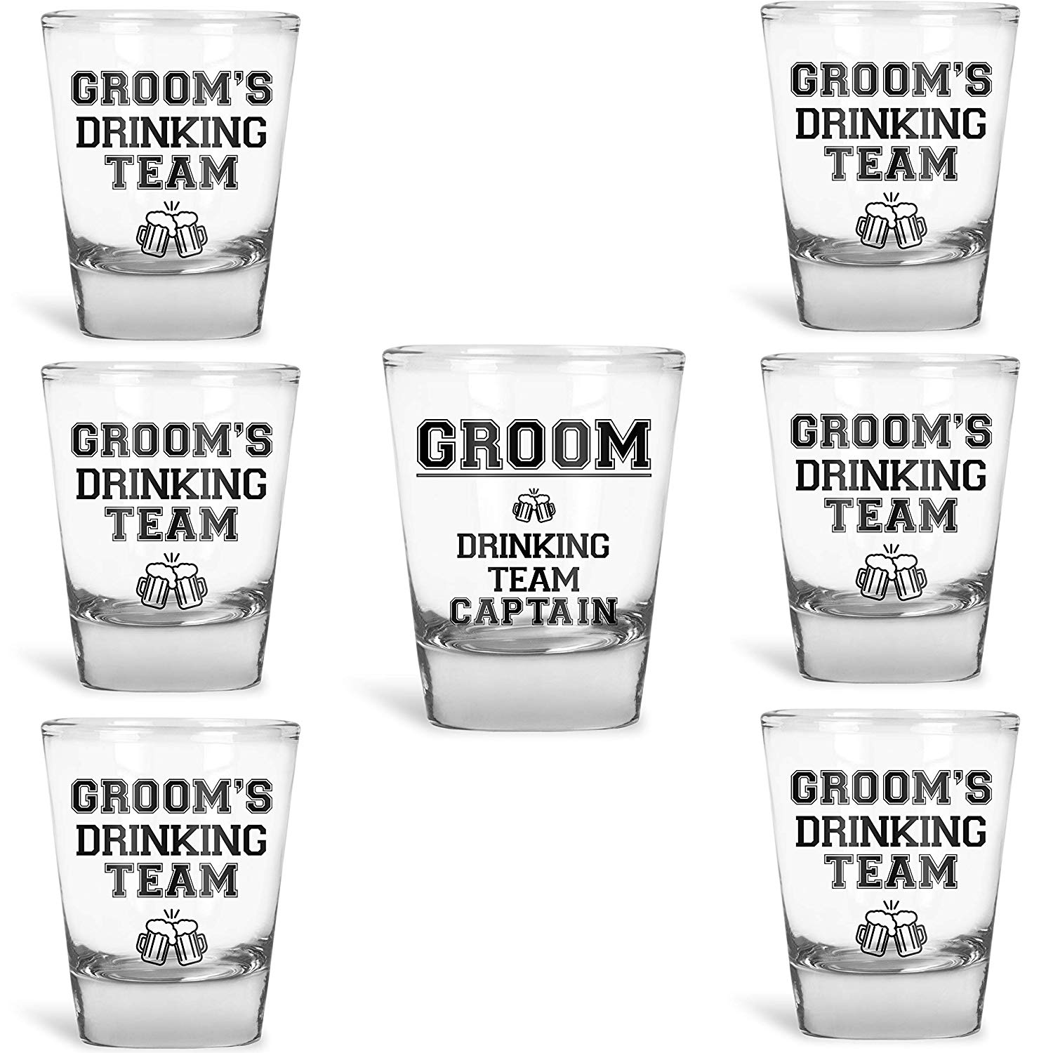 ifts Groom's Drinking Team Shot Glasses