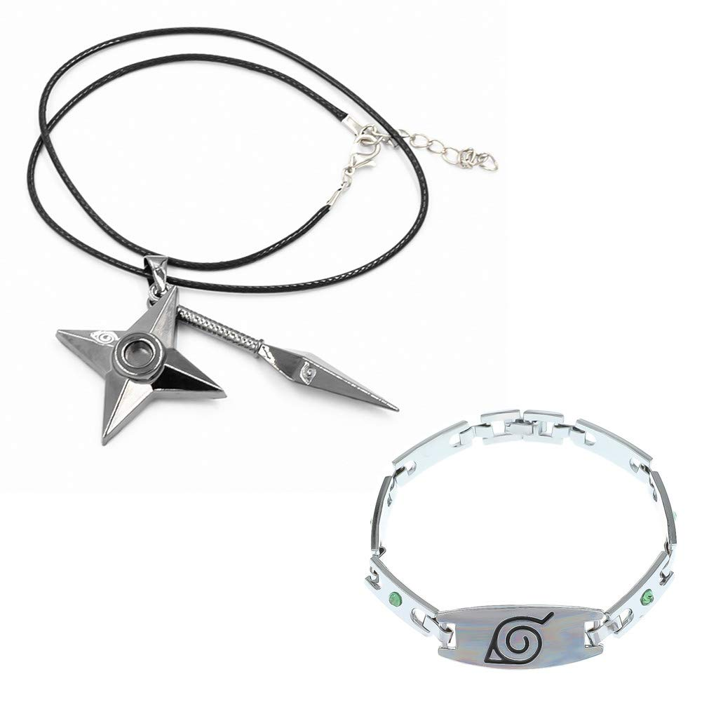 Pendant Necklace with Naruto Bracelet as Gift for Anime Fans