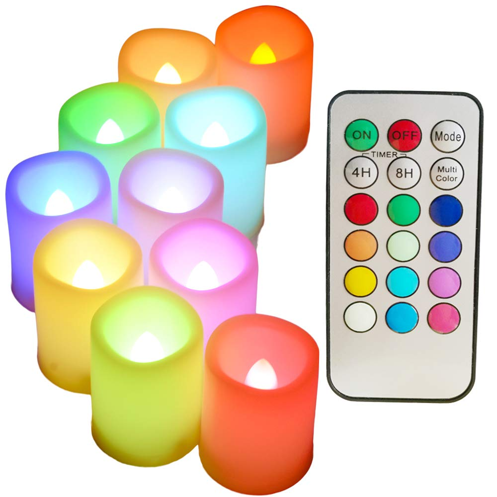 Colored Flameless Candles with Timer and Remote Control