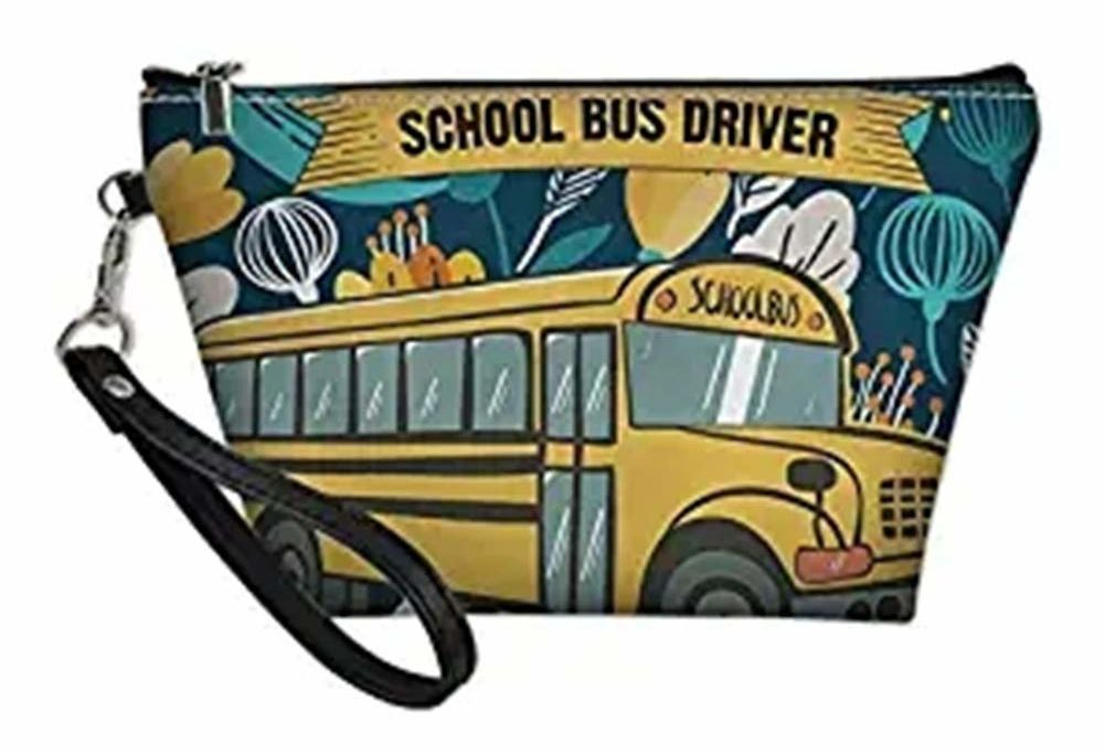 A school bus themed cosmetics bag as a gift for bus driver