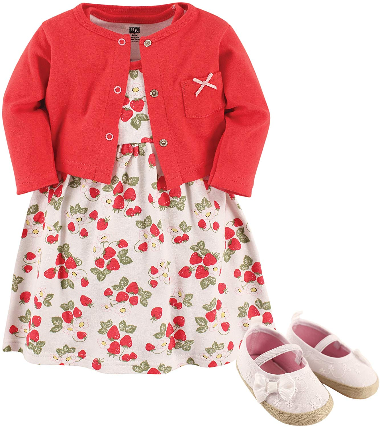 Hudson Baby Girl Dress, Cardigan and Shoes - Strawberry gift ideas