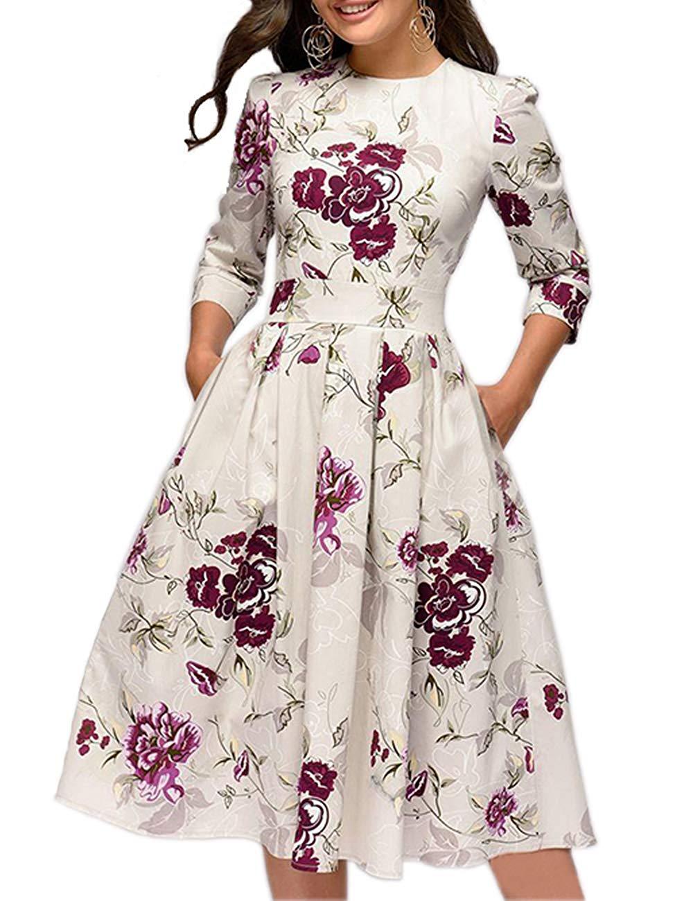 Women's Floral Vintage Dress - golden birthday gift ideas for her