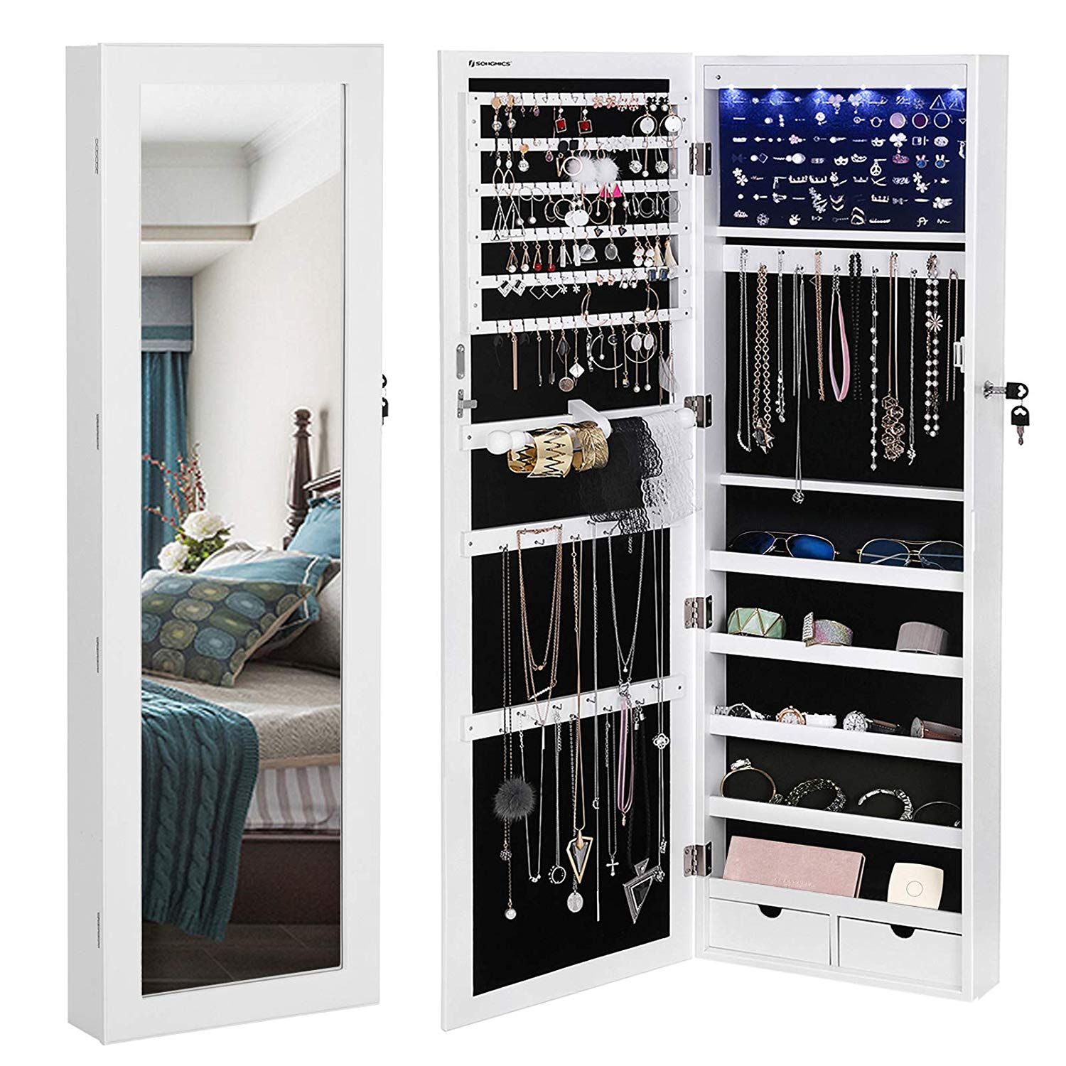 Mounted Jewelry Armoire Organizer with Mirror