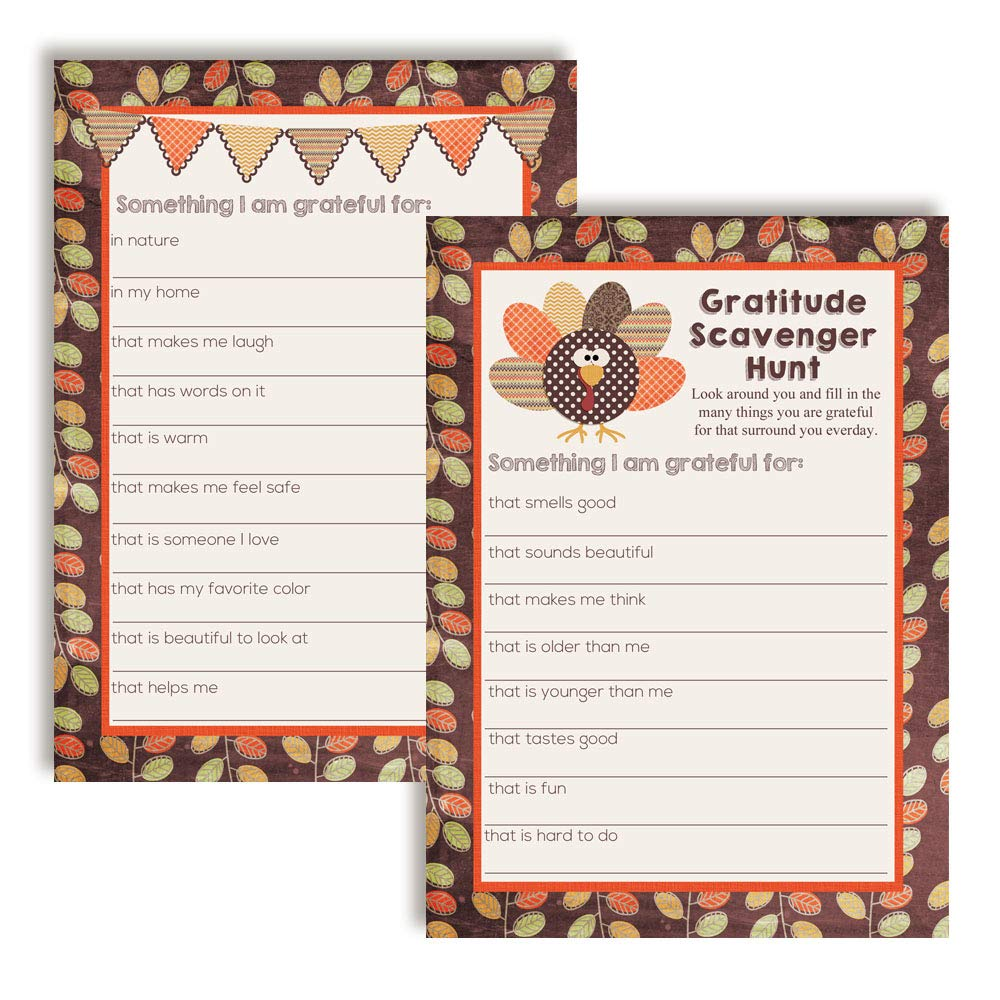 "I Am Grateful For"" Gratitude Scavenger Hunt Thanksgiving Fill In Game Cards"