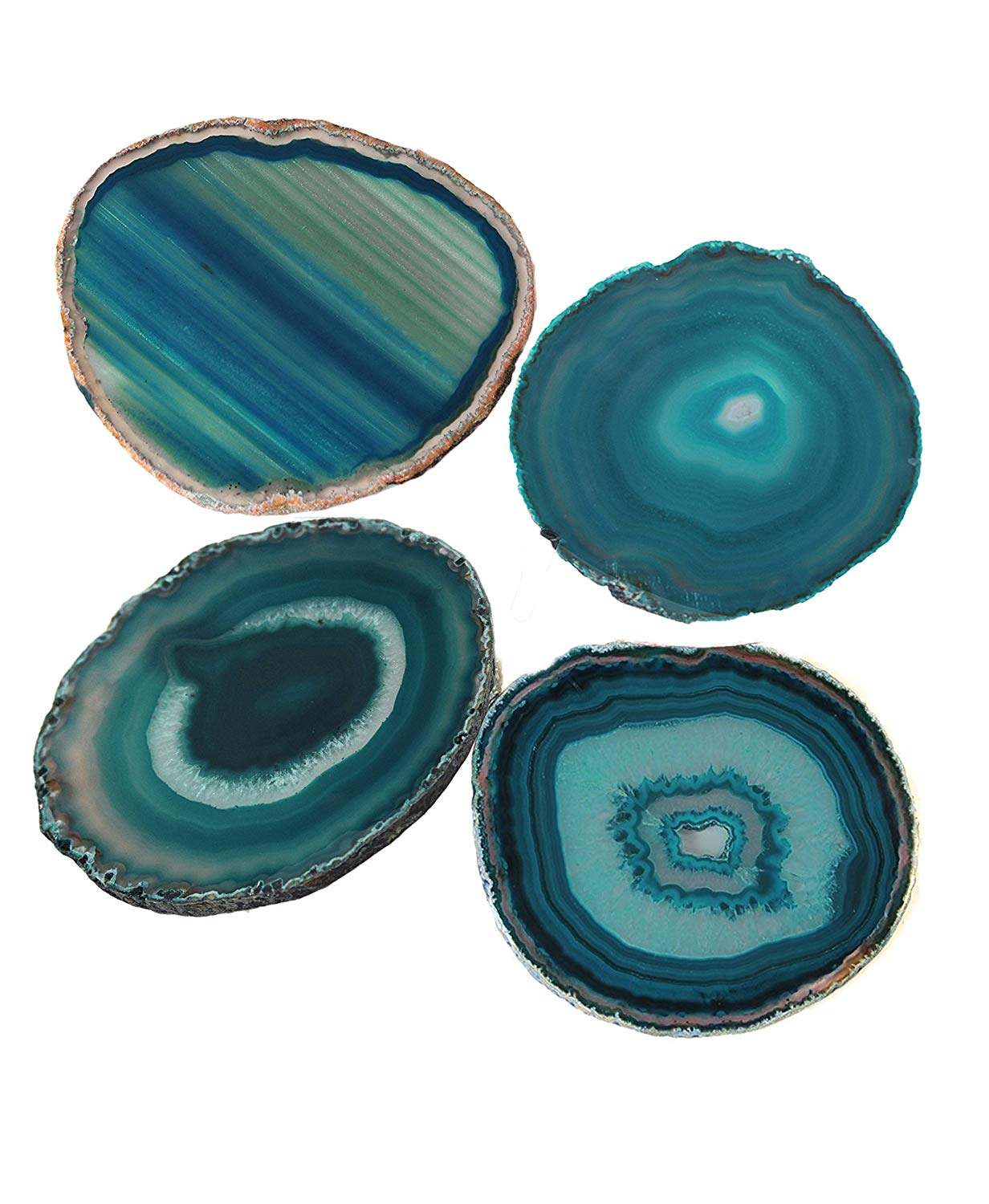 Dyed Sliced Genuine Brazilian Aqua Agate Drink Coasters with Rubber Bumper Set of 4