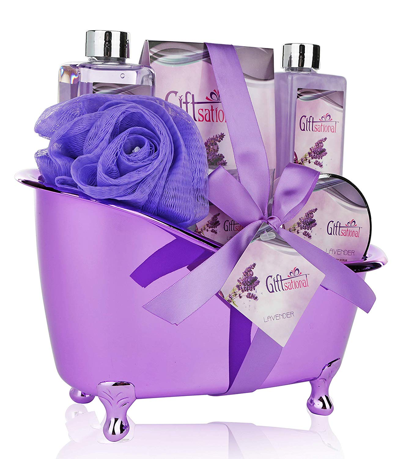 Spa Gift Basket Lavender Fragrance Cute Tub-Shaped Holder With Bath Accessories
