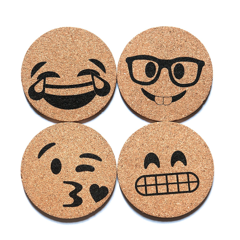 Corkologist Emoji Cork Round Beverage Coasters