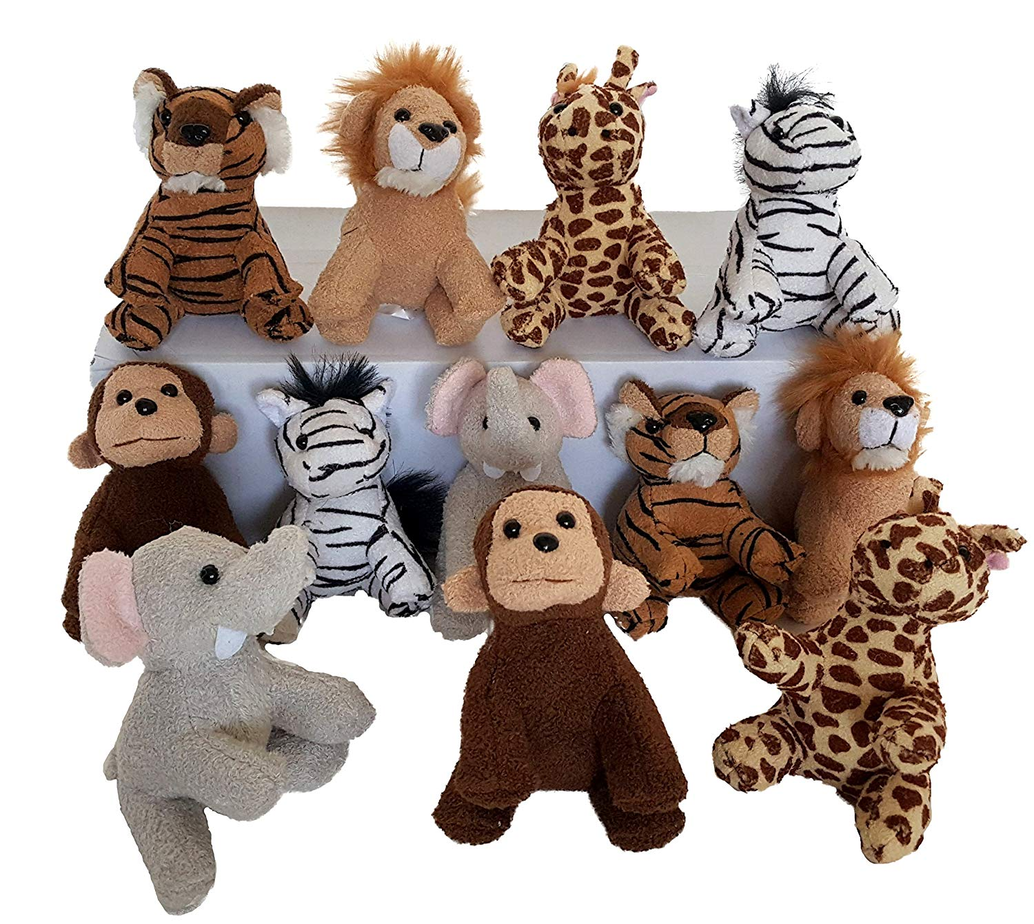 Dondor Suede Zoo Animals, 12 Piece Party Pack