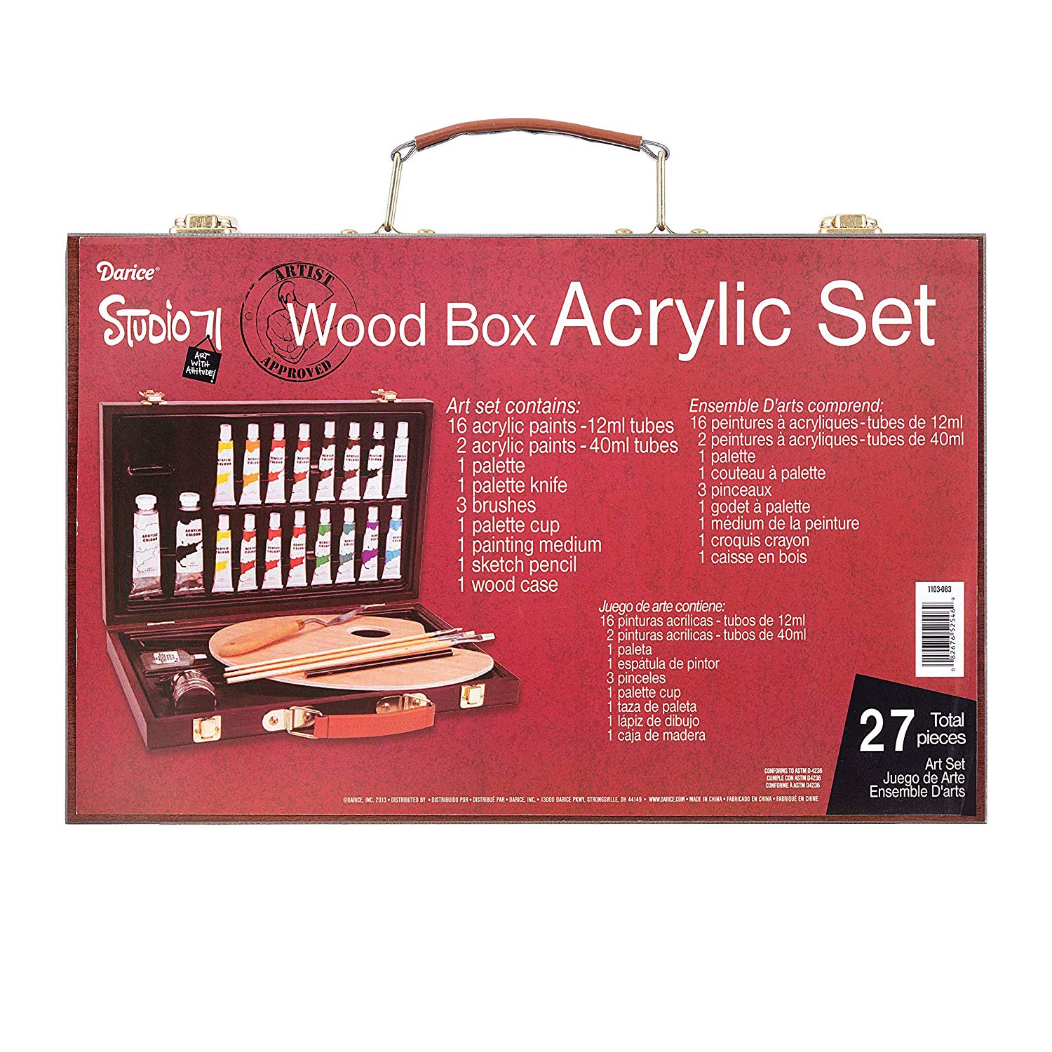 Acrylic Painting Set, Wood Box - golden birthday gift ideas for her