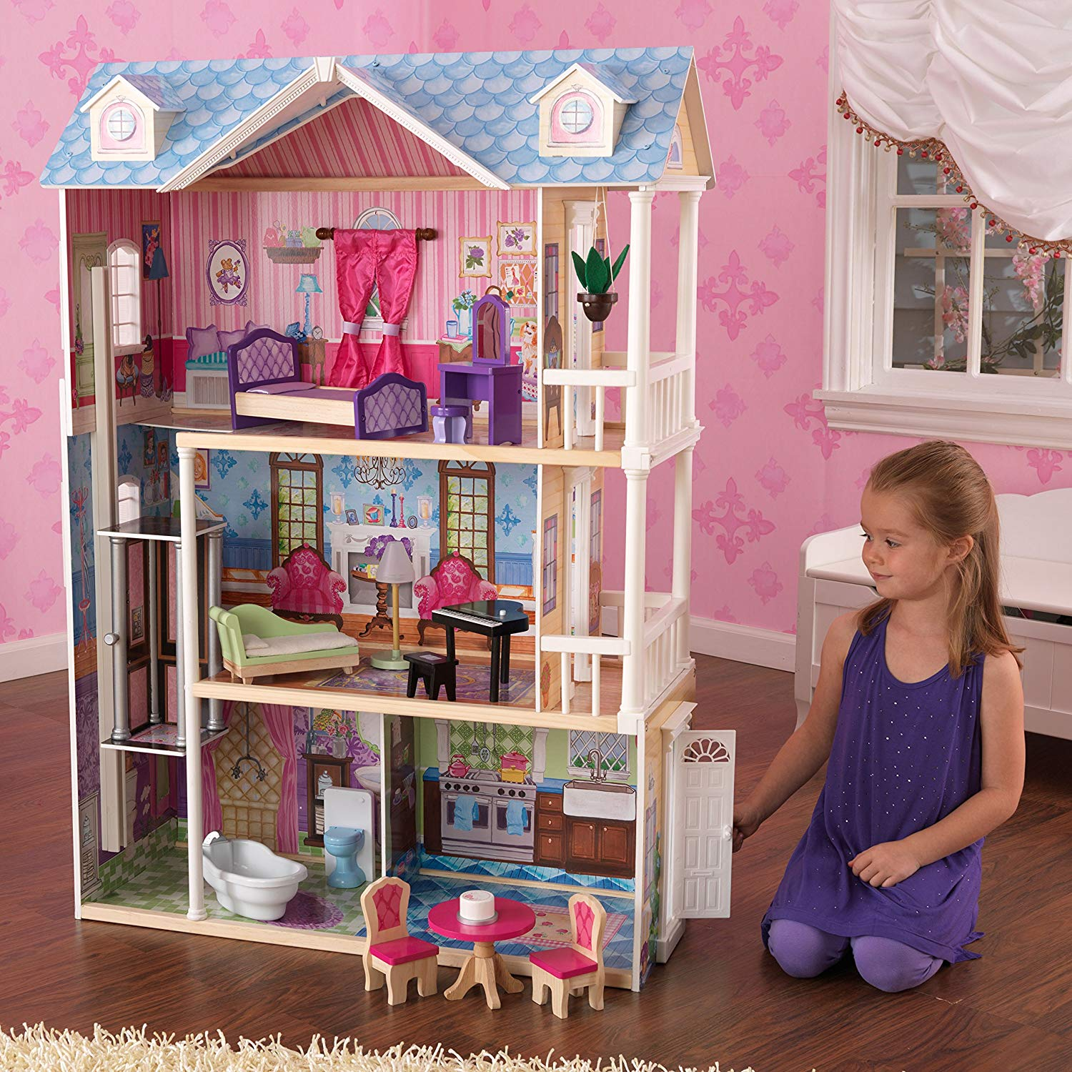 Dreamy Dollhouse with Furniture - golden birthday gift ideas for her